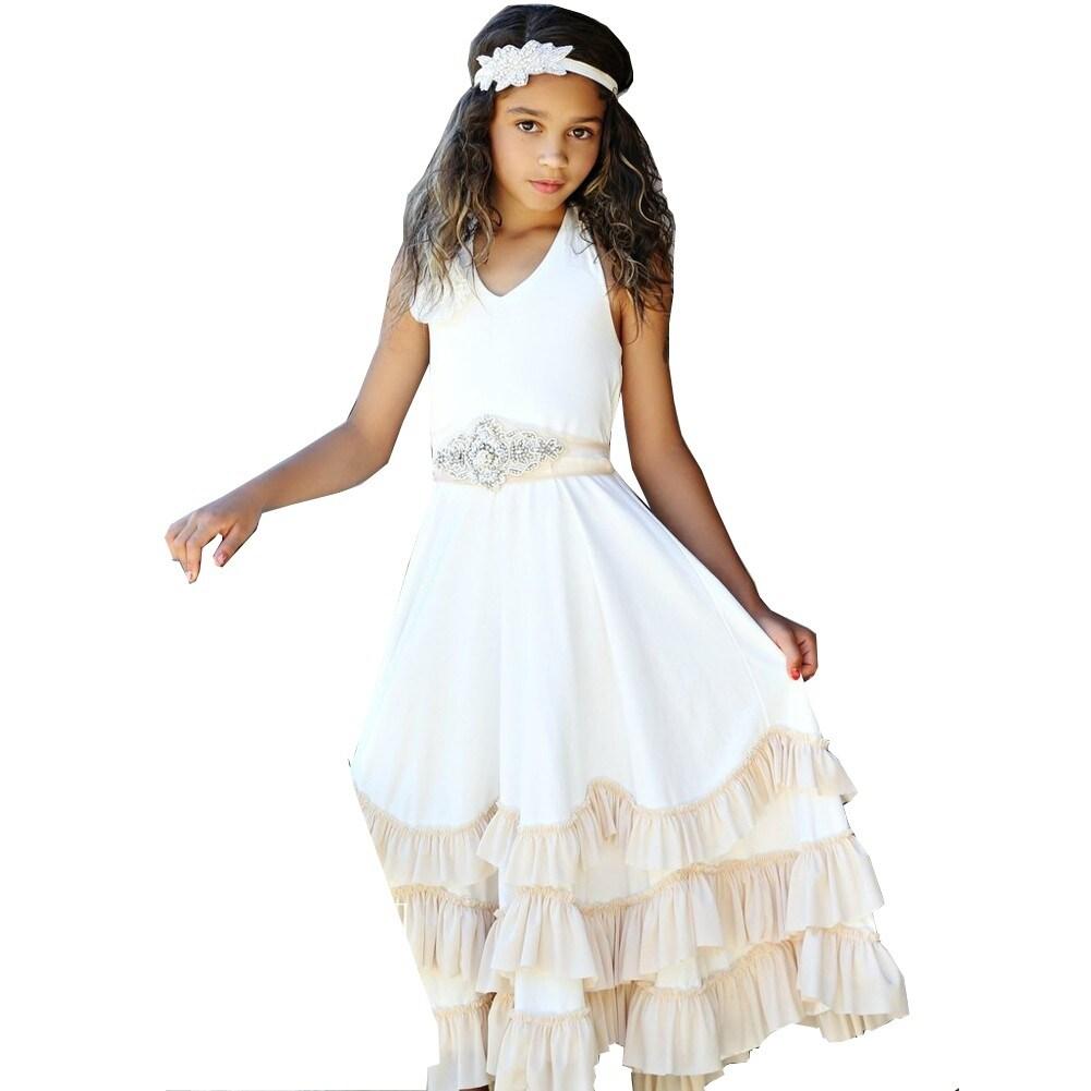Shop Think Pink Bows Girls Off White Halter Boho Ruffle Flower Girl