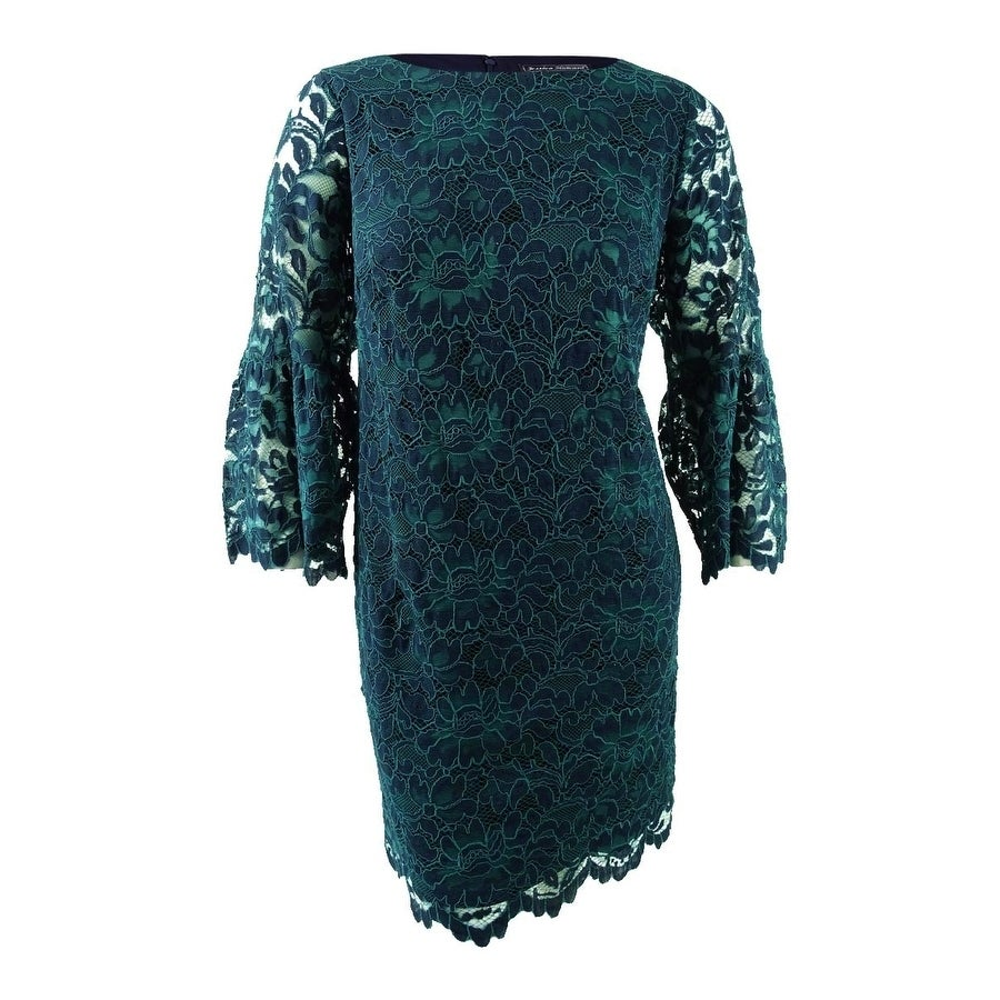 e088a87f3d7c Shop Jessica Howard Women's Plus Size Bell-Sleeve Lace Dress (20W, Navy  Green) - Navy Green - 20W - Free Shipping Today - Overstock - 23600875