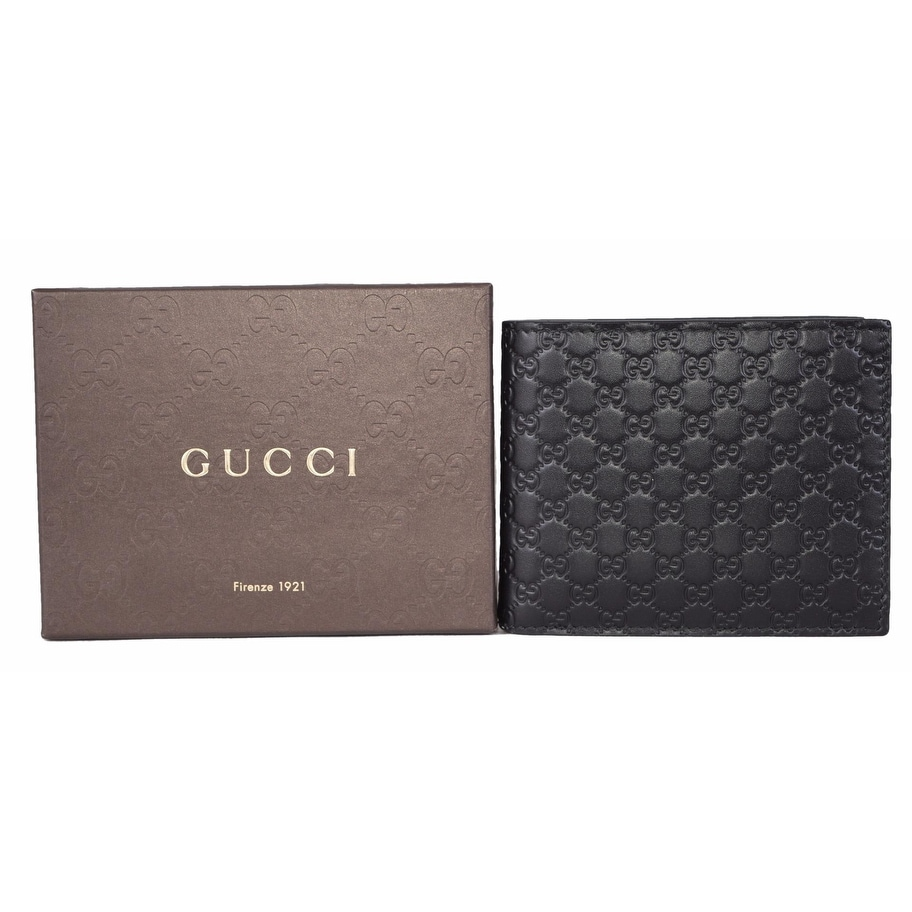 5a267ea359f4 Shop Gucci Men's 260987 Black Leather MICRO GG Guccissima Bifold Wallet -  Free Shipping Today - Overstock - 13342425