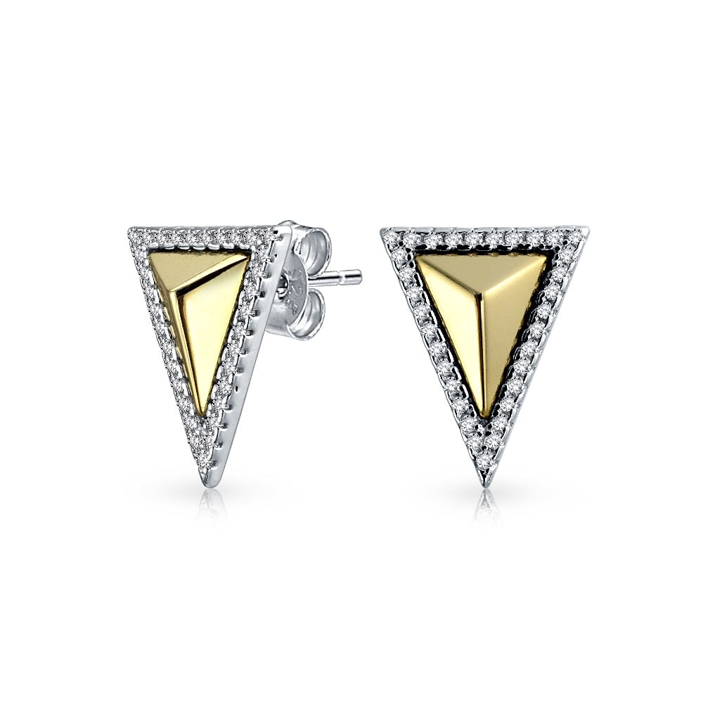 b4b044e12 Shop Minimalist Geometric Two Tone Triangle Arrow Cubic Zirconia Pave CZ  Stud Earrings 14K Gold Plated Sterling Silver - On Sale - Free Shipping On  Orders ...