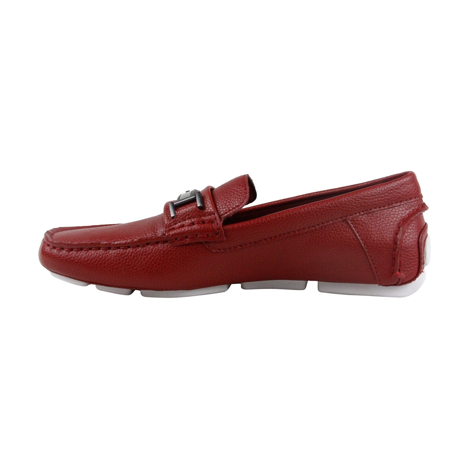 ea9a2e69de9 Shop Calvin Klein Magnus Mens Red Leather Casual Dress Slip On Loafers Shoes  - Free Shipping Today - Overstock - 19512860
