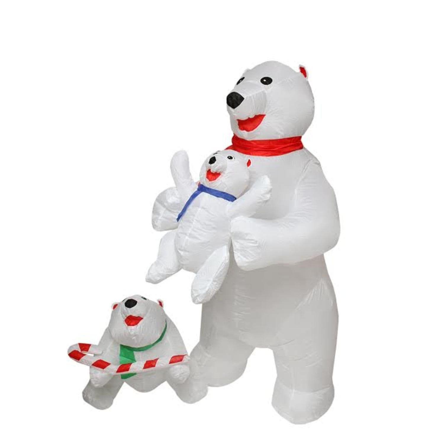 shop 5 inflatable cute polar bear family lighted christmas outdoor decoration white free shipping today overstockcom 17438516 - Polar Bear Inflatable Christmas Decorations