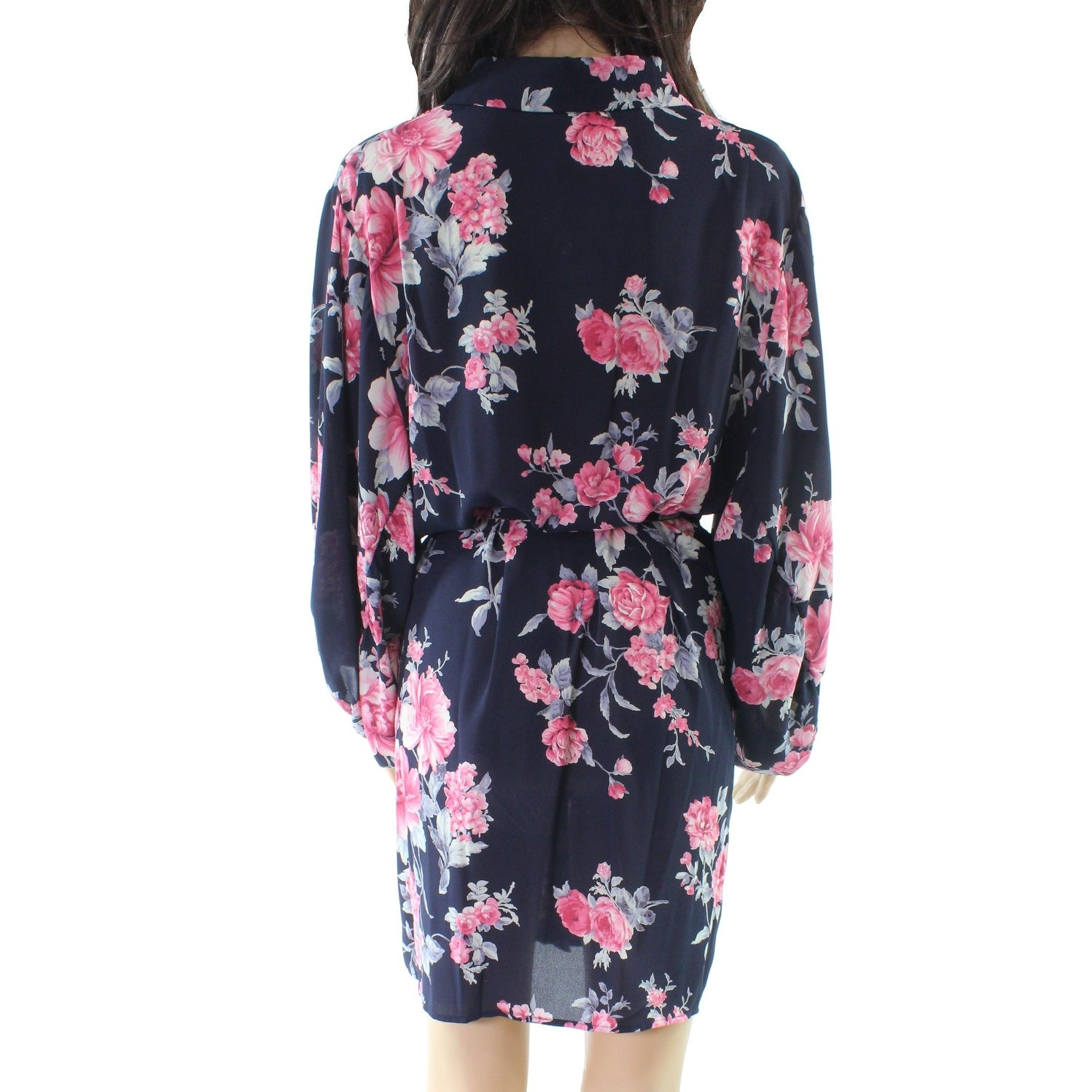 Collective Concepts NEW Blue Women s Medium M Floral Belted Shirt Dress -  Free Shipping On Orders Over  45 - Overstock - 27497396 54a801d2f26