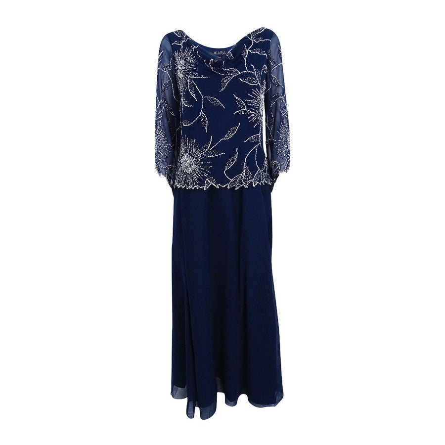 J Kara Women\'s Embellished A-Line Gown - Navy - Free Shipping Today ...
