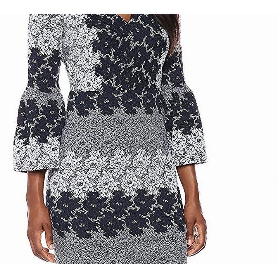d088252de567 Shop Maggy London Navy Floral Jacquard Bell Sleeve Sheath Dress - Free  Shipping On Orders Over $45 - Overstock - 27062538