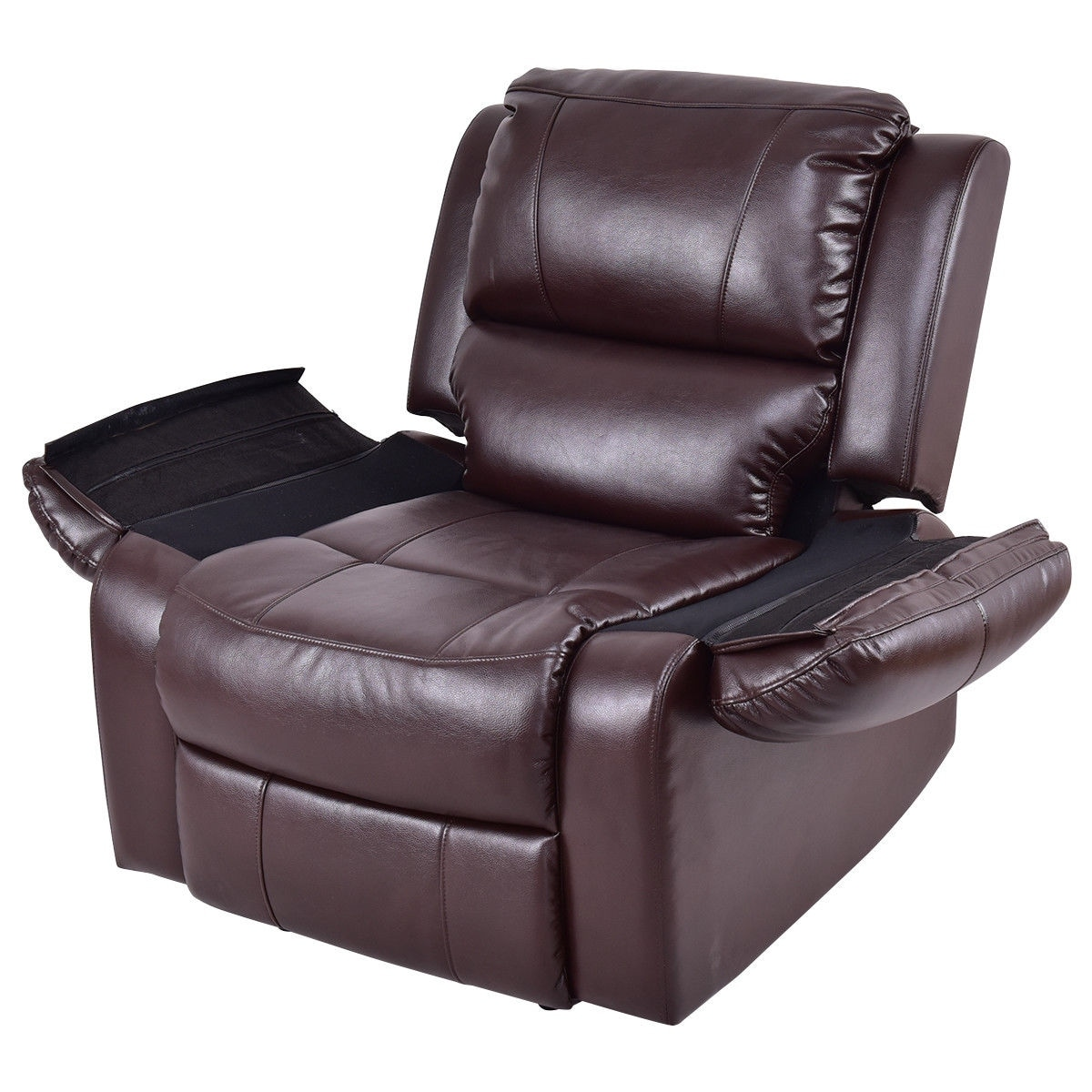 shop costway manual recliner sofa lounge chair pu leather home