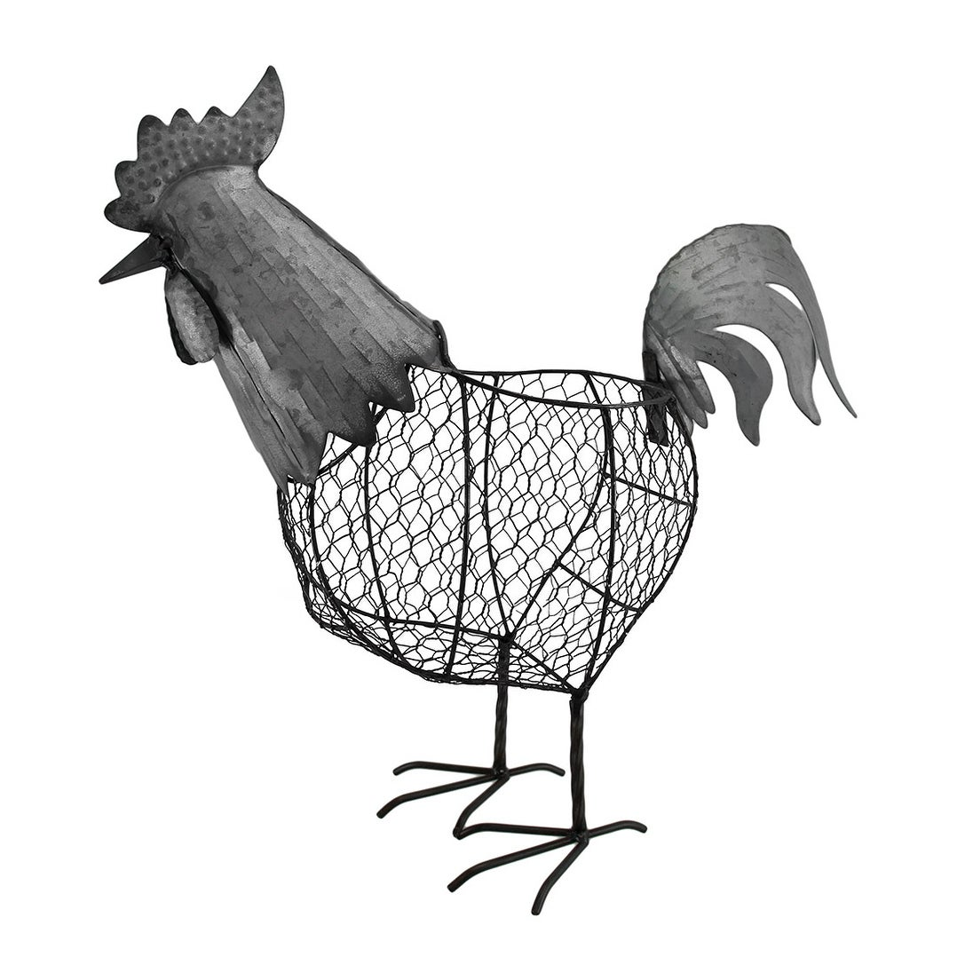 Shop Metal Chicken Wire Decorative Standing Rooster Basket 18 Inch ...