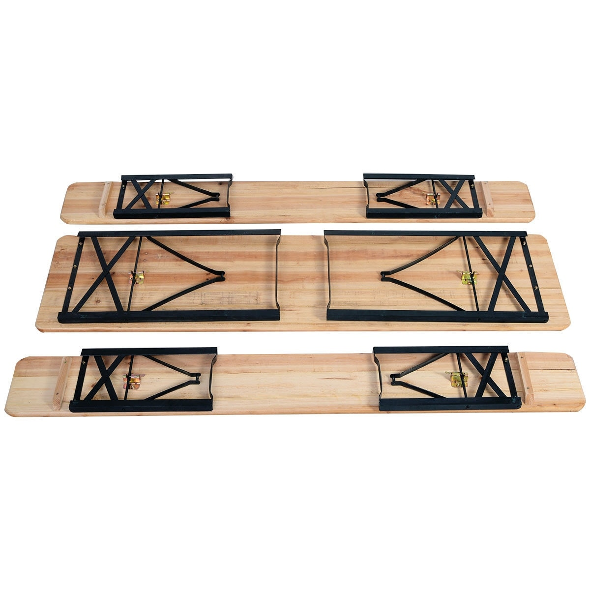 Costway 3 PCS Beer Table Bench Set Folding Wooden Top Picnic Table Patio Garden - Free Shipping Today - Overstock - 22287939  sc 1 st  Overstock & Costway 3 PCS Beer Table Bench Set Folding Wooden Top Picnic Table ...