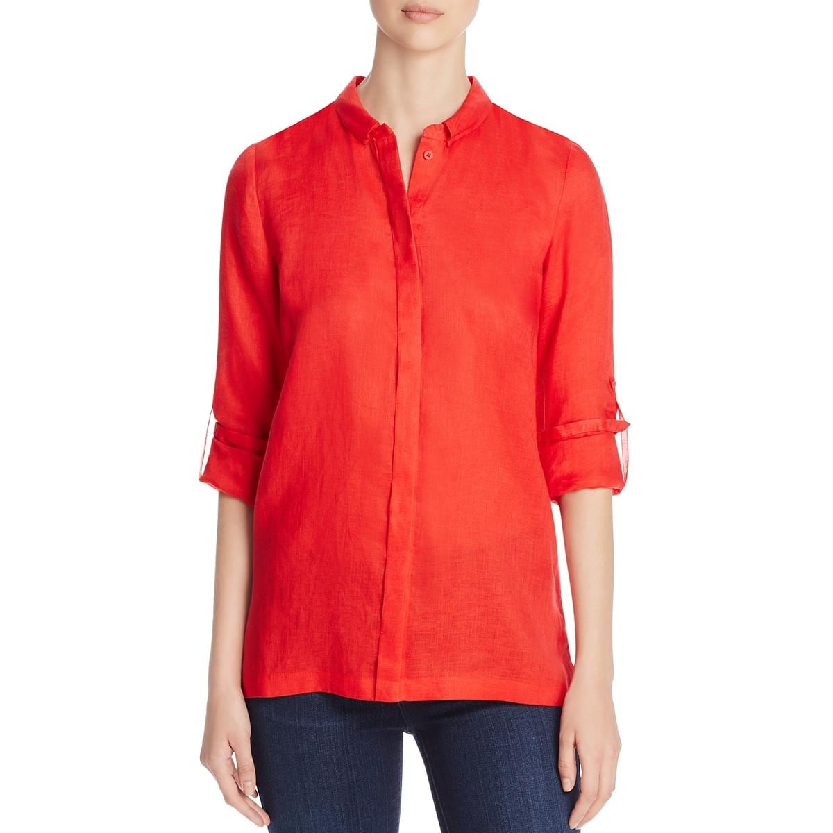 949bfa4df0d8 Shop Elie Tahari Womens Carly Blouse Linen Pleated Back - Free Shipping  Today - Overstock - 15088412