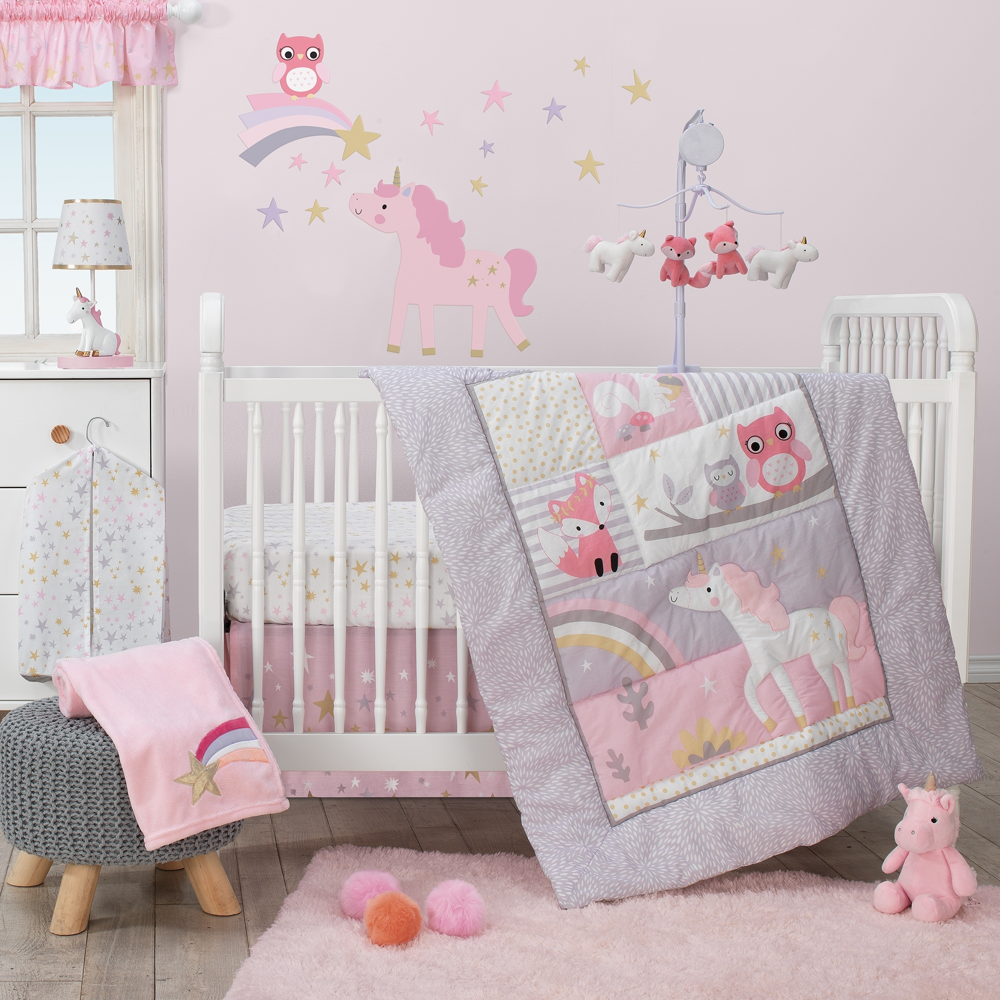 Bedtime Originals Rainbow Unicorn With Fox Squirrel And Owls Pink Purple 3 Piece Baby Nursery Crib Bedding Set