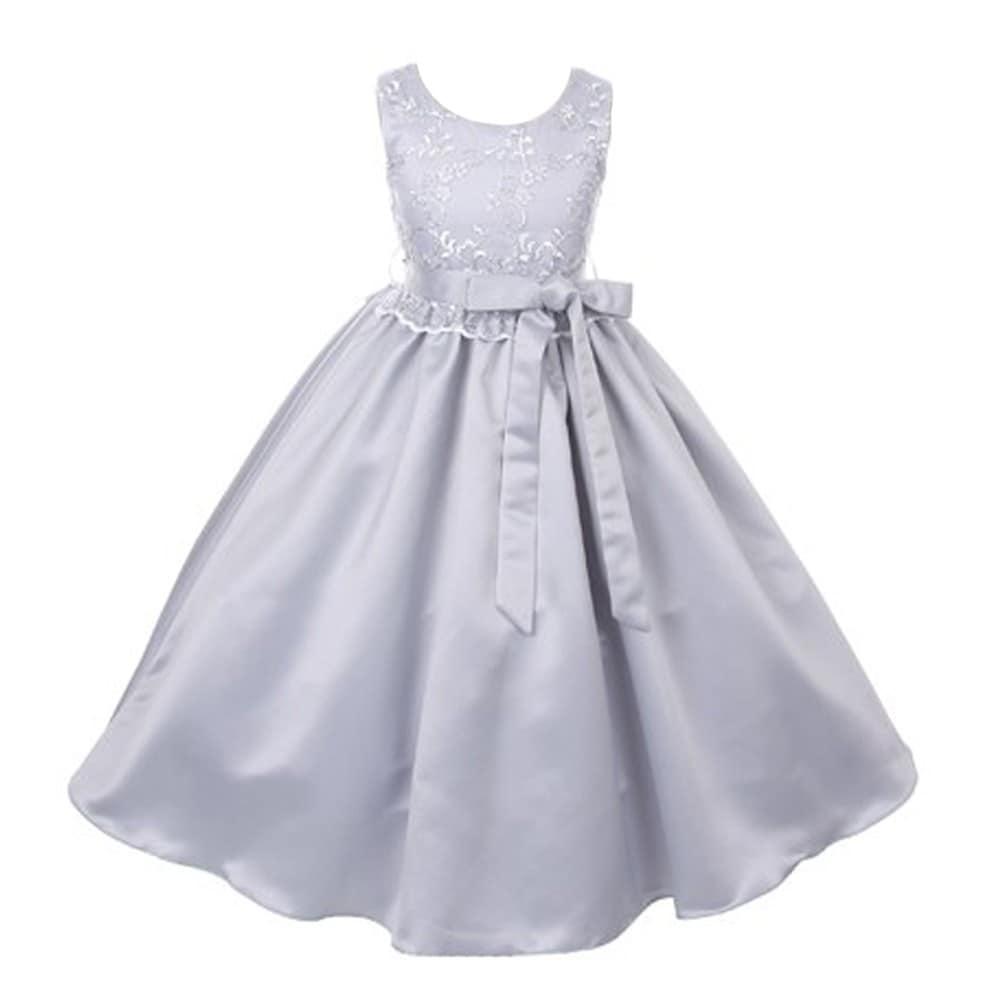 28088e9cff7a0 Good Girl Little Girls Silver Lace Overlay Satin Sash Flower Girl Dress
