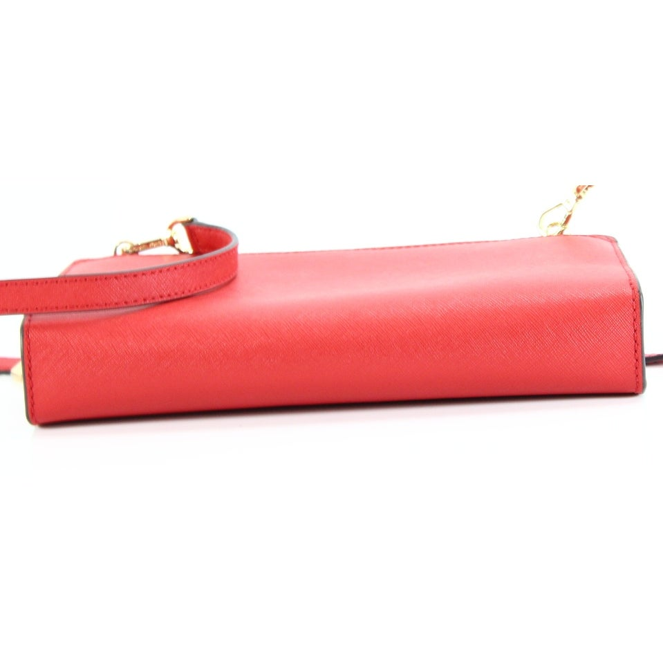 68170aaa53ec Shop Michael Kors Bright Red Crossbody Clutch Leather Handbag Purse - Free  Shipping Today - Overstock - 22530461