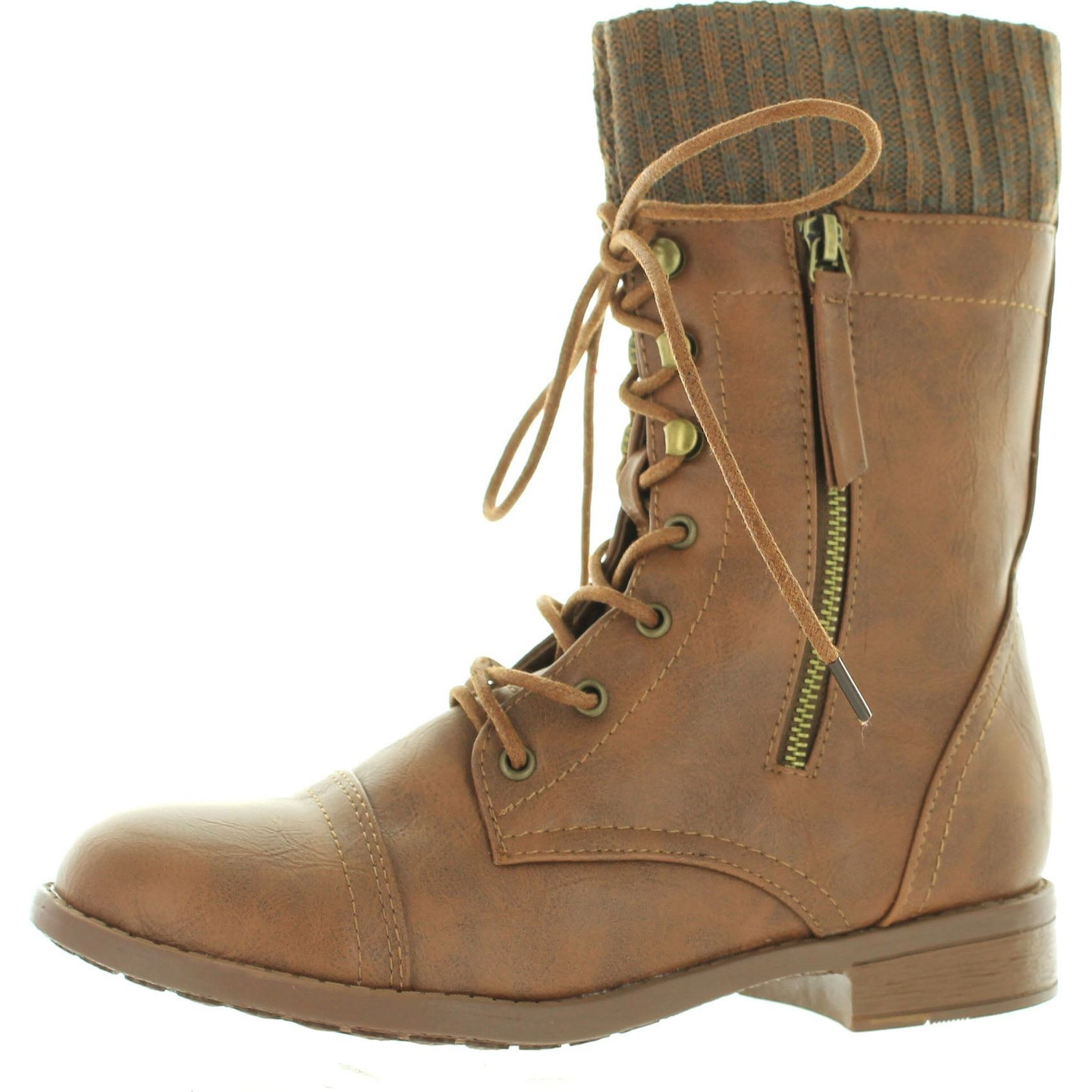 Shop Forever Link Womens Justina-58 Sweater Cuff Combat Boots - Free ... b0b26942a9