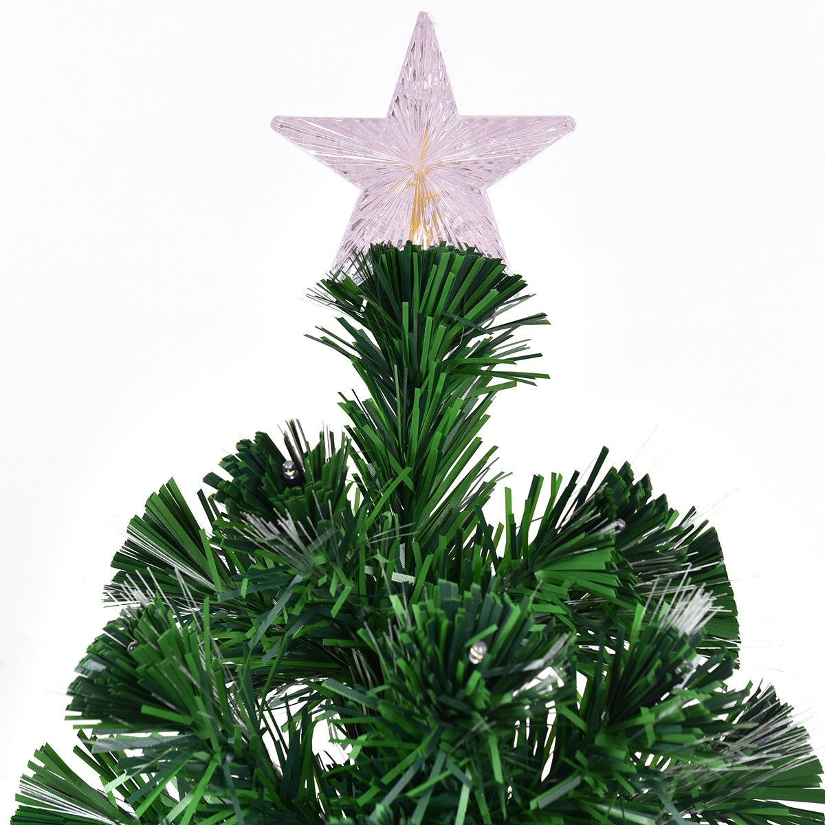 Shop Costway 7\' Pre-Lit Fiber Optic Artificial Christmas Tree w/ 180 ...