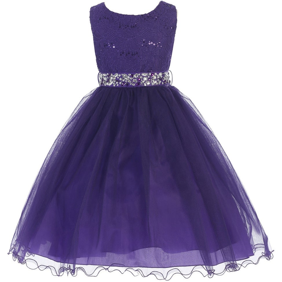 4db175c7d67 Shop Flower Girl Dress Glitter Sequin Top   Rhinestone Sash Purple JK 3670  - Free Shipping Today - Overstock - 16743280