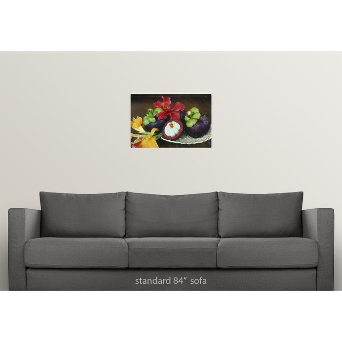 Mangosteen fruit with tropical flowers - Multi-color