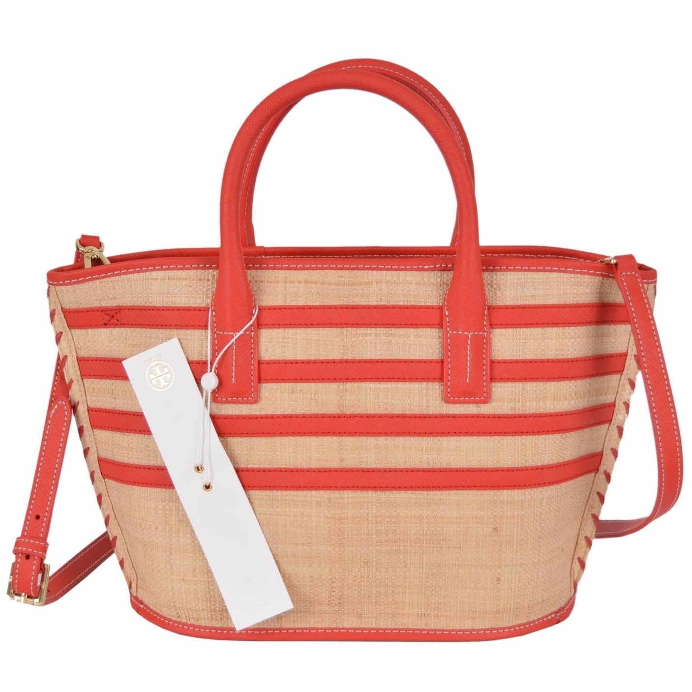 657f3f764 Shop Tory Burch Natural Red Straw Leather Stripe Mini Purse Crossbody Tote  - Free Shipping Today - Overstock - 21525840