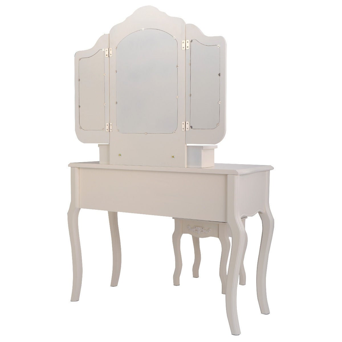 Shop Costway Tri Folding Vintage White Vanity Makeup Dressing Table