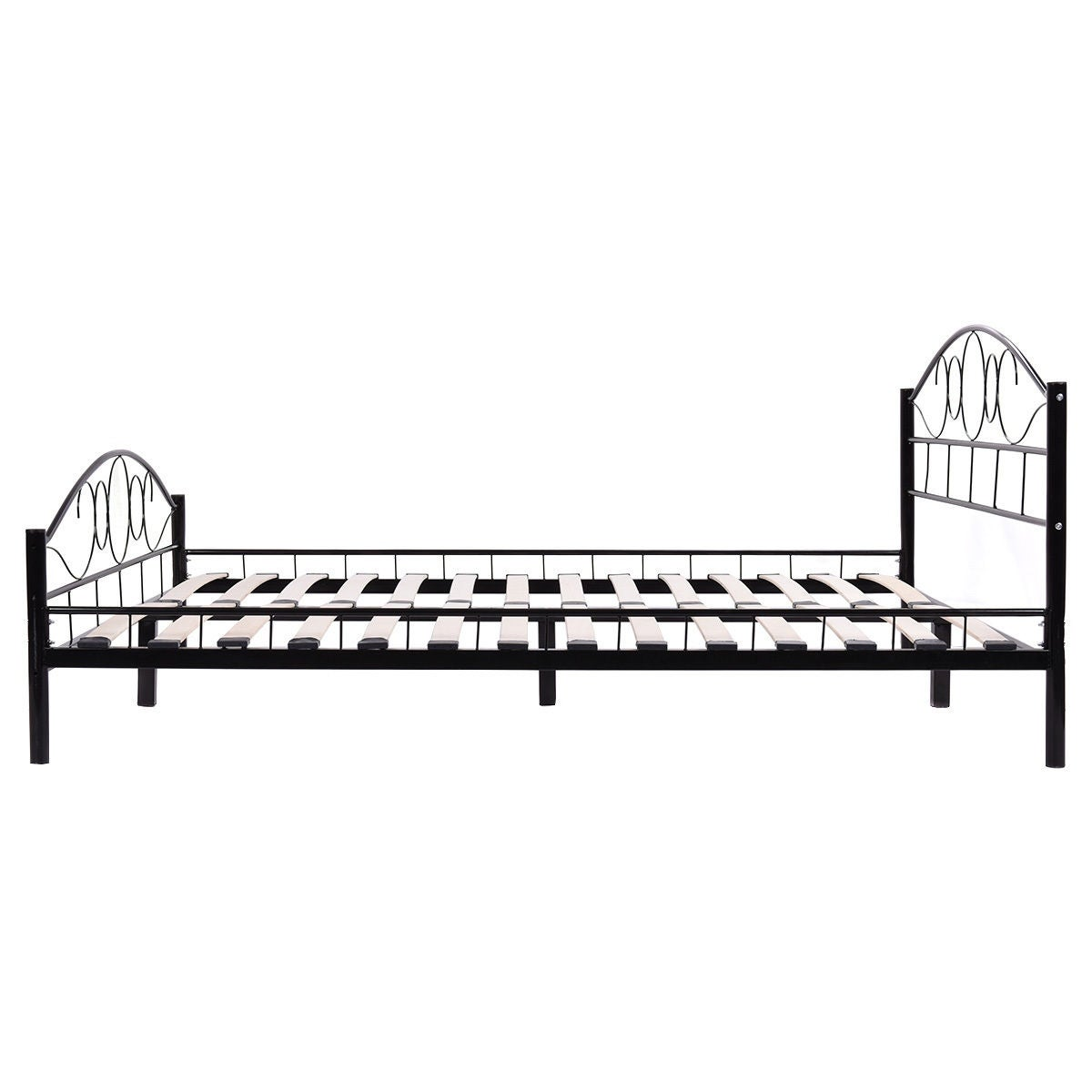 Shop Costway Queen Size Wood Slats Steel Bed Frame Platform ...