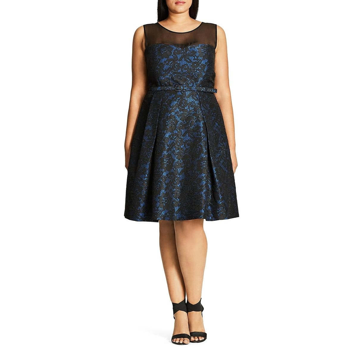 405c8fabe29 City Chic Womens Plus After Dark Cocktail Dress Floral Lace Sleeveless