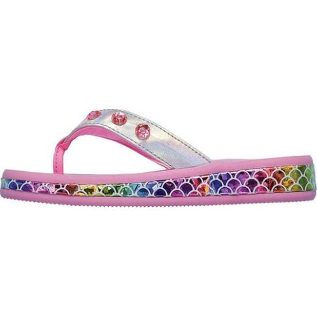 0765539999f2 Shop Skechers Girls  Twinkle Toes Sunshines Mermaid Dreams Thong Sandal  Silver Multi - On Sale - Free Shipping On Orders Over  45 - Overstock -  27348401