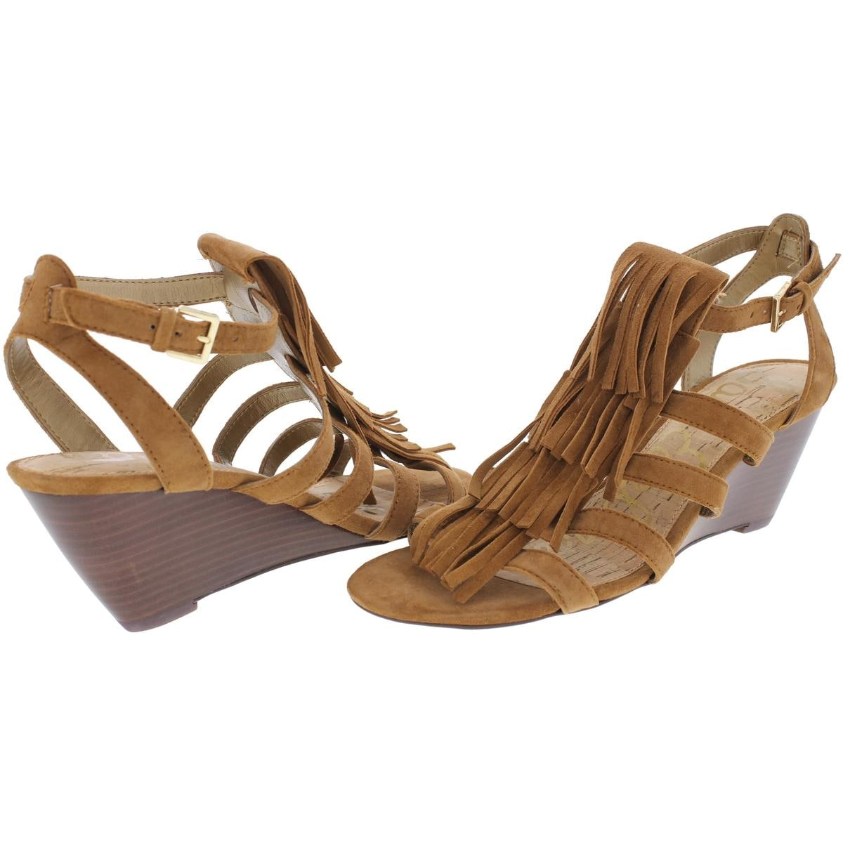 c72050fda Shop Sam Edelman Womens Sandra Wedge Sandals Suede Fringe - Free Shipping  On Orders Over  45 - Overstock - 21617347