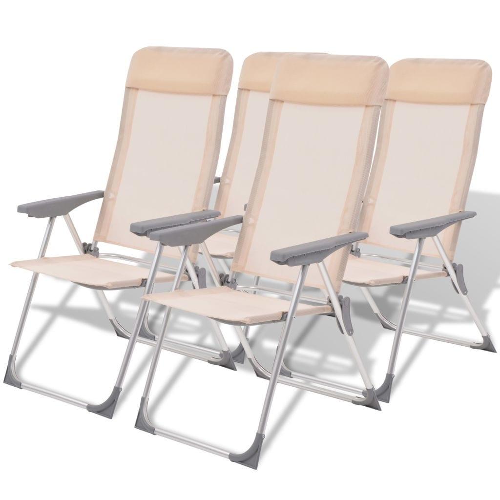 Pleasing Vidaxl 4X Camping Chairs Aluminum Folding Cream Reclining Camp Outdoor Seat Machost Co Dining Chair Design Ideas Machostcouk