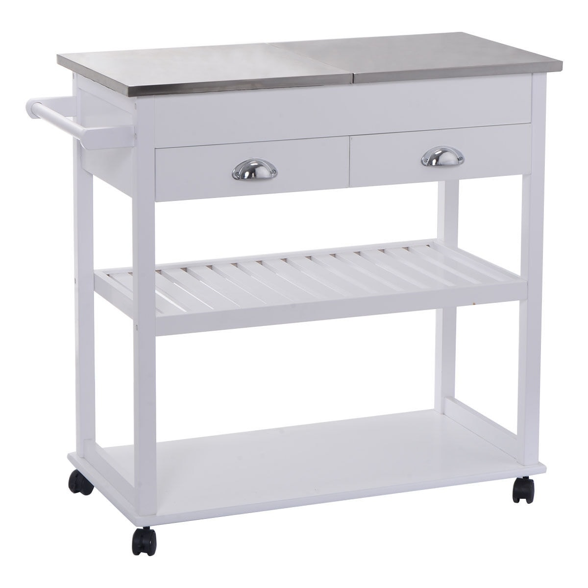 Shop costway white rolling kitchen trolley cart stainless steel flip top w drawers casters free shipping today overstock com 16745928