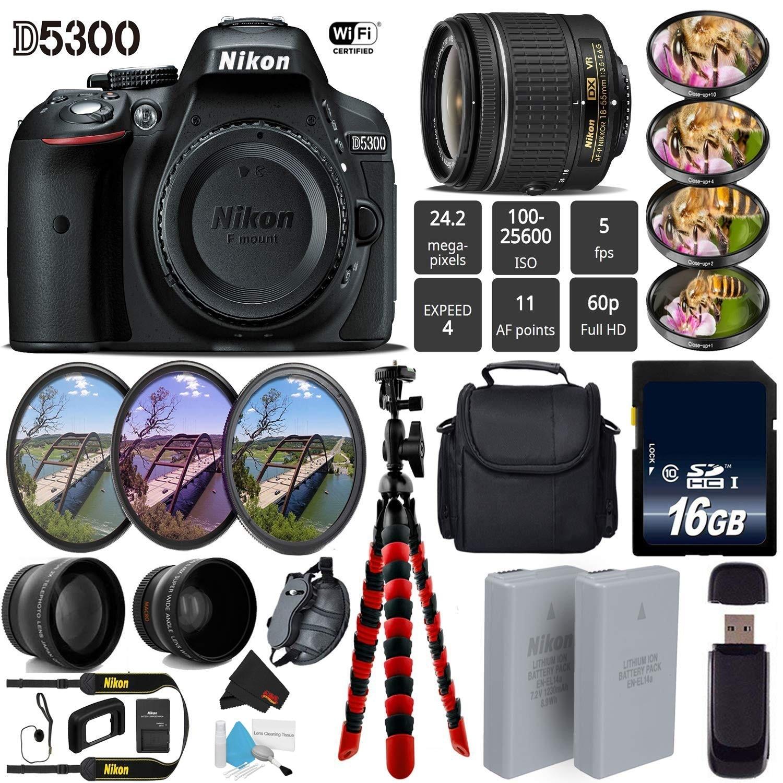 Shop Nikon D5300 Dslr Wi Fi Gps 242mp Dx Cmos Camera W Af P 18 Kit 55mm Vr Lens 7pc Filter Led Light Bundle Intl Model Free Shipping Today