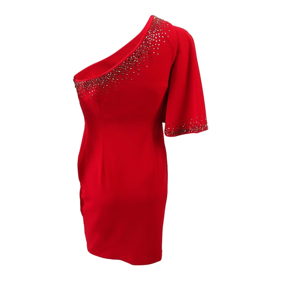09fb657947e1 Shop Calvin Klein Women's Petite One-Shoulder Ruffle-Sleeve Dress - Red -  On Sale - Free Shipping Today - Overstock - 24226265