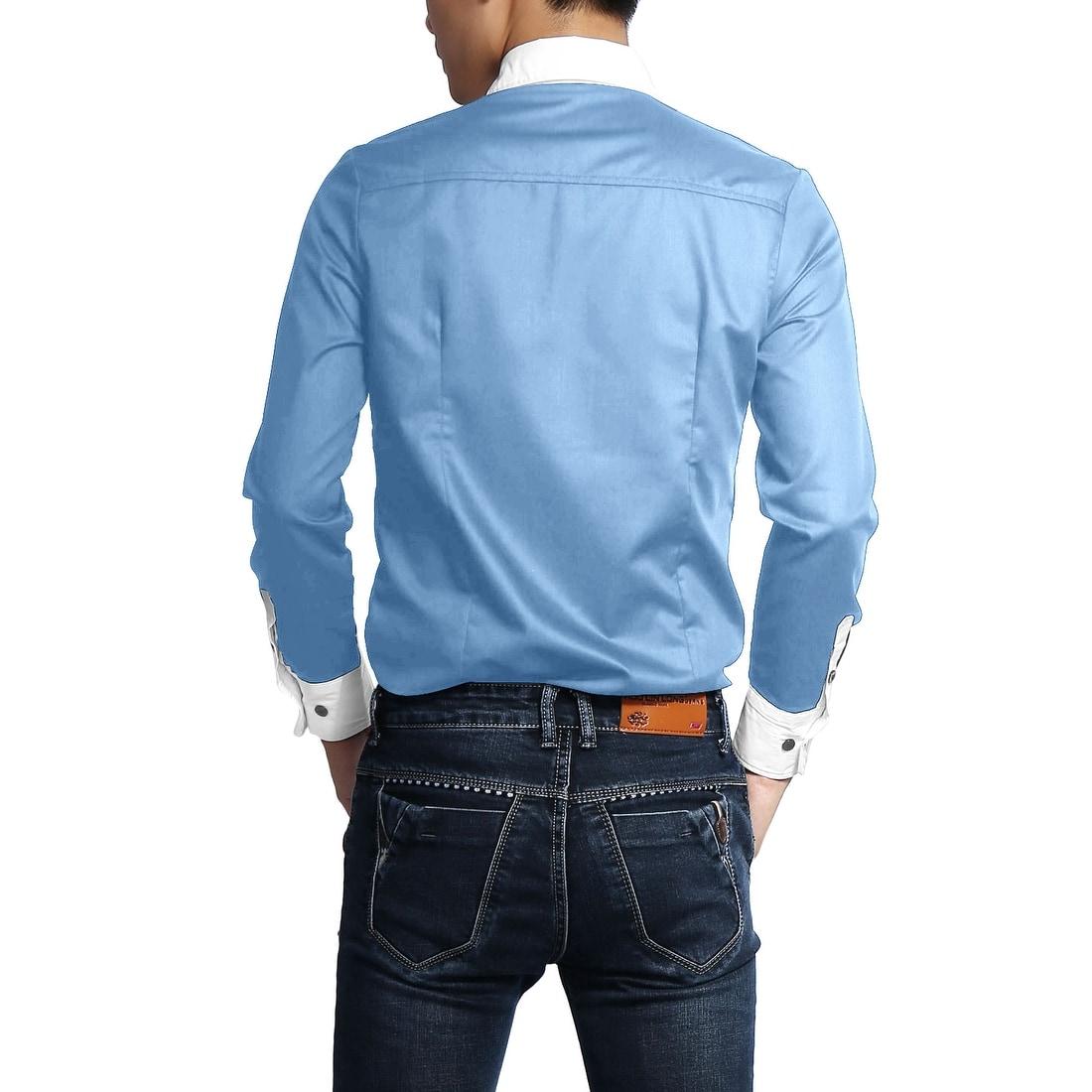 Shop Men Contrast Color Long Sleeves Slim Fit Button Up Shirt On