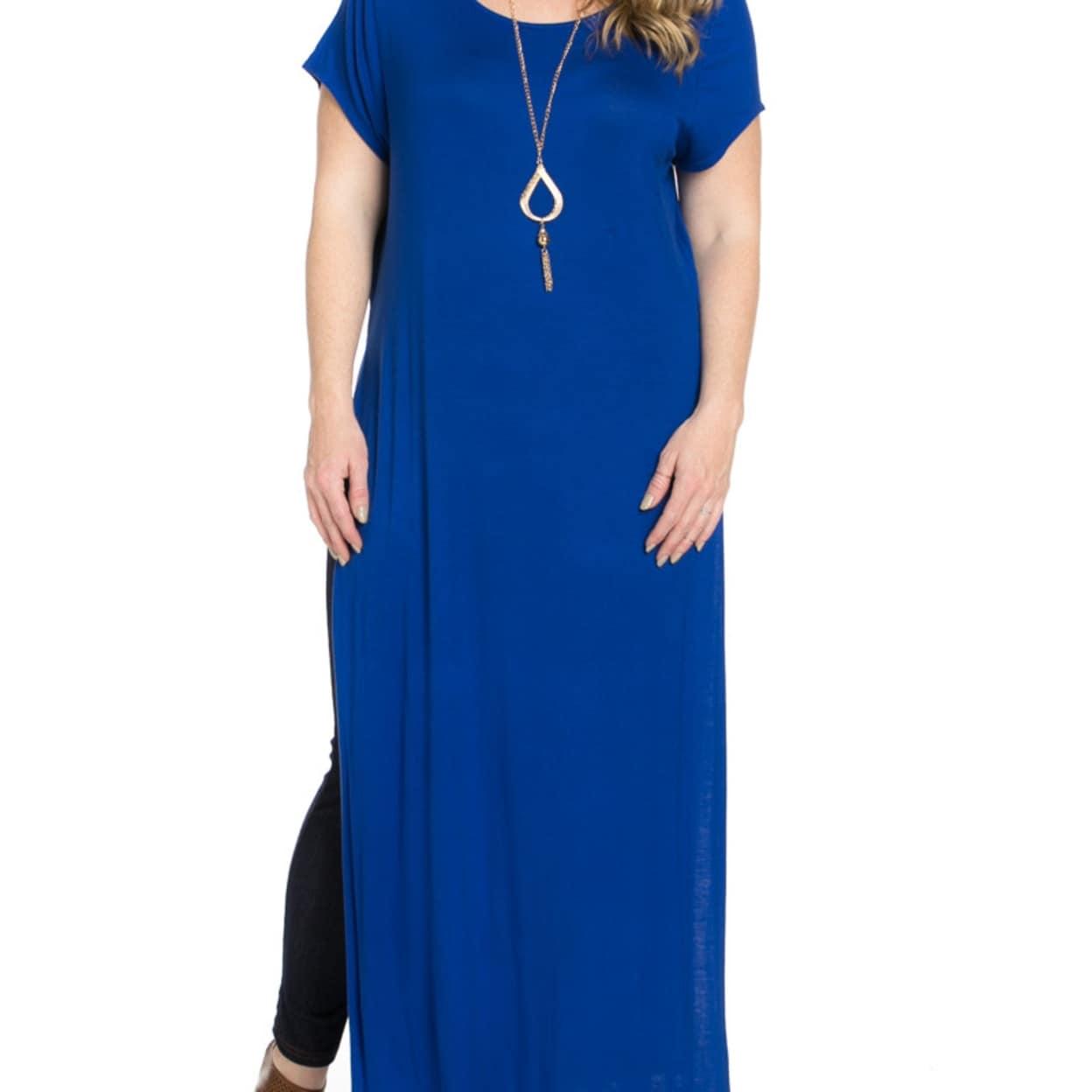 Shop Side Slit Royal Blue Maxi Dress Plus Size - Royal Blue - Free ...