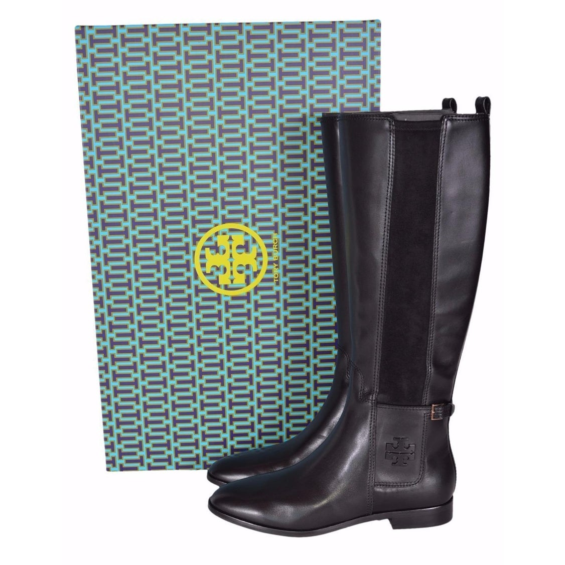 df0cfe2d3347e Shop Tory Burch Women s Black Leather Wyatt Knee High T Logo Riding Boots 8  - On Sale - Free Shipping Today - Overstock - 19469375
