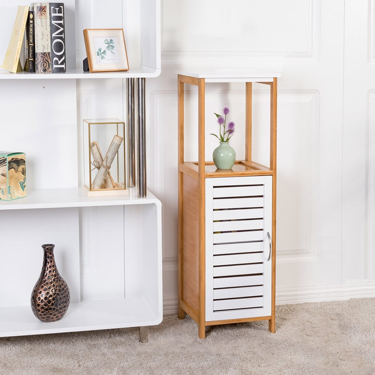 Costway Bamboo Bathroom Storage Rack Floor Cabinet Free Standing Shelf Towel Organizer Natural White Shipping Today 21009971