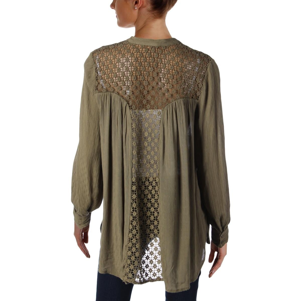 b07dddab829d7 Shop Free People Womens Button-Down Top Crochet Back Gauze - Free Shipping  On Orders Over $45 - Overstock - 17306537