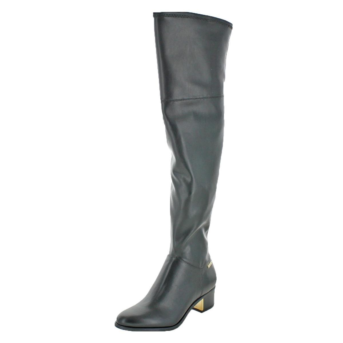 24dba5fa21a Calvin Klein Womens Carli Over-The-Knee Boots Leather Neoprene