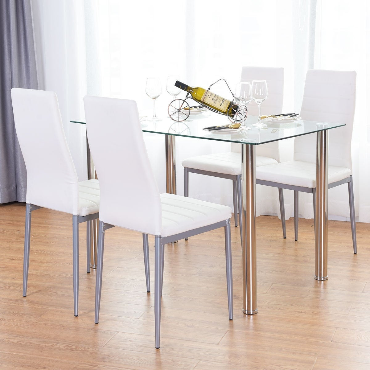 Shop Costway 5 Piece Dining Set Table and 4 Chairs Glass Metal ...