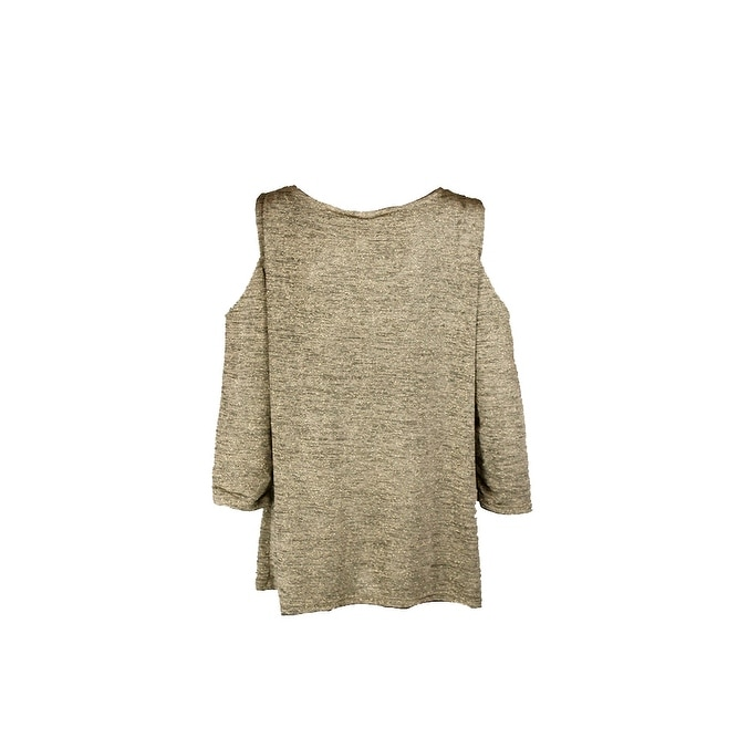 ad3344bda3e62 Shop Msk Gold Metallic Cold-Shoulder Top XL - Free Shipping On Orders Over   45 - Overstock - 24187124
