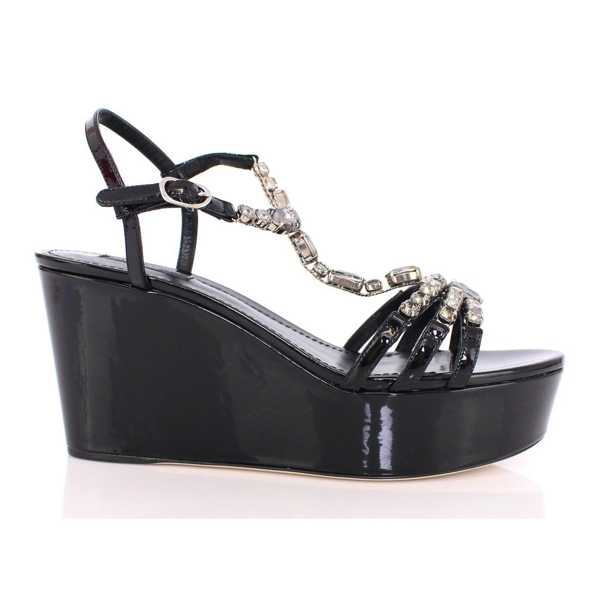 0ae594f9ef07f Shop Dolce   Gabbana Black Crystal Embellished Wedge Sandals Shoes ...