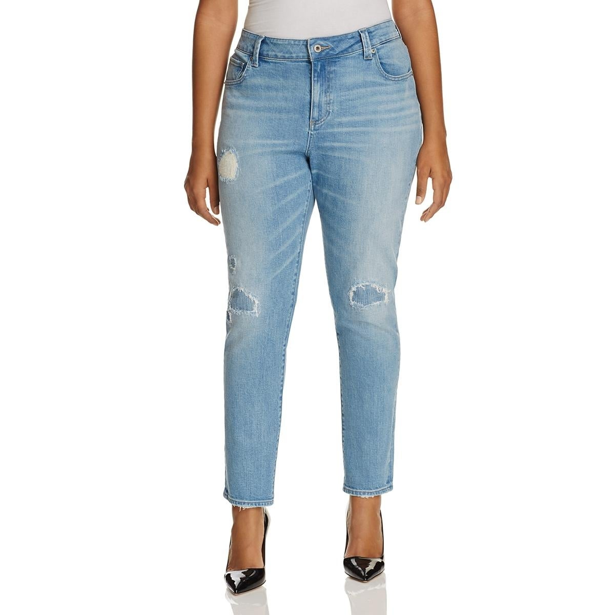 fa2cdeb4dd418 Shop Lucky Brand Womens Plus Ginger Skinny Jeans Destroyed Mid-Rise - Free  Shipping On Orders Over  45 - Overstock - 19436889