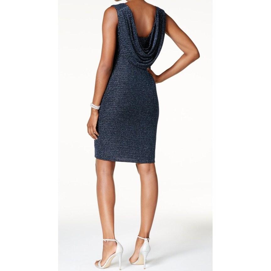 9668df3e0798f Shop Jessica Howard Blue Women's Size 10 Metallic Cowl-Back Sheath Dress -  Free Shipping On Orders Over $45 - Overstock - 21861093