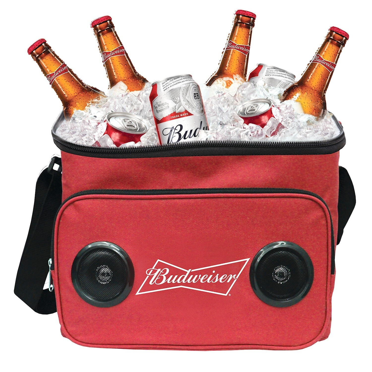 Beer Cooler Bag with Bluetooth Speaker - Insulated Blue Bud Light or Red  Budweiser Picnic Cooler with Shoulder Strap
