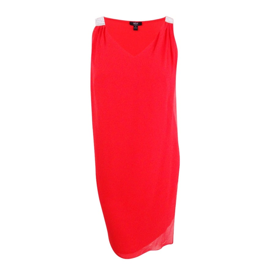 bc5ee1411b548 Shop Msk Women's Plus Size Rhinestone Chiffon Overlay Dress - New Coral -  Free Shipping On Orders Over $45 - Overstock - 21474736