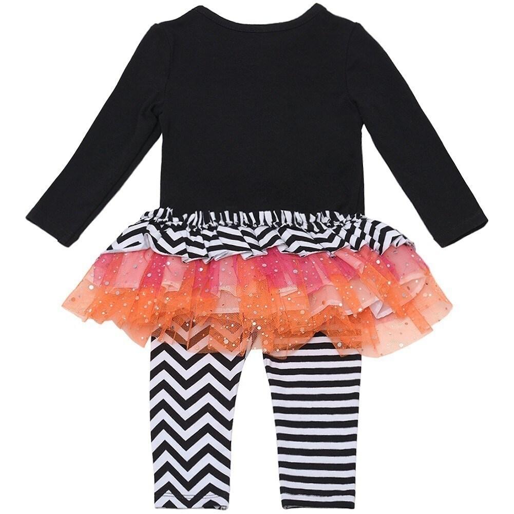 3b2991460d4 Shop Baby Girls Black Boo Striped Tutu Tunic 2 Pc Leggings Set 0-3M - Free  Shipping On Orders Over  45 - Overstock.com - 18172950
