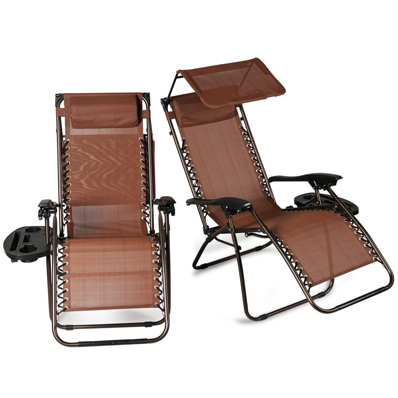 Belleze 2 Pack Zero Gravity Chairs Canopy Shade Headrest Pillows Recliner With Tray Brown