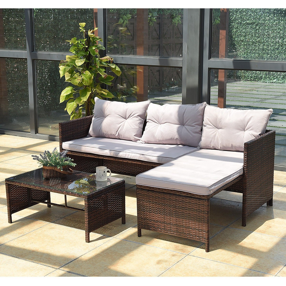 Astonishing Costway 3 Pcs Outdoor Rattan Furniture Sofa Set Lounge Chaise Cushioned Patio Garden New Home Interior And Landscaping Mentranervesignezvosmurscom