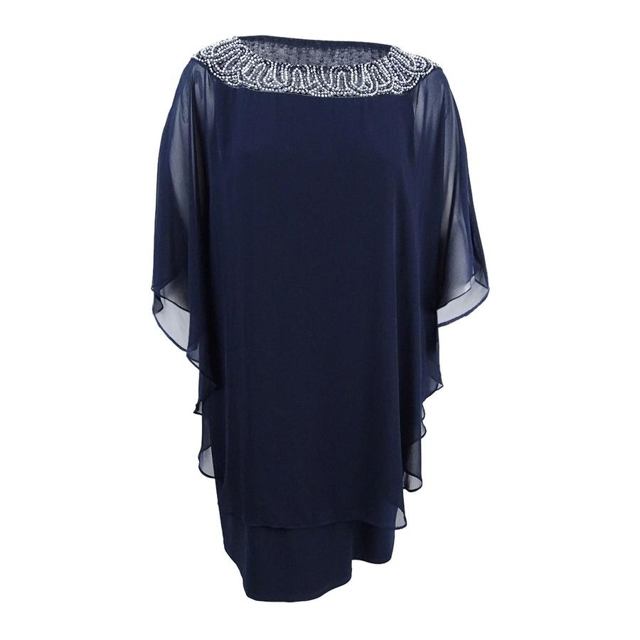 8136a3b1cc561 Shop Xscape Women's Plus Size Beaded Chiffon Capelet Dress - Free Shipping  Today - Overstock - 20697459