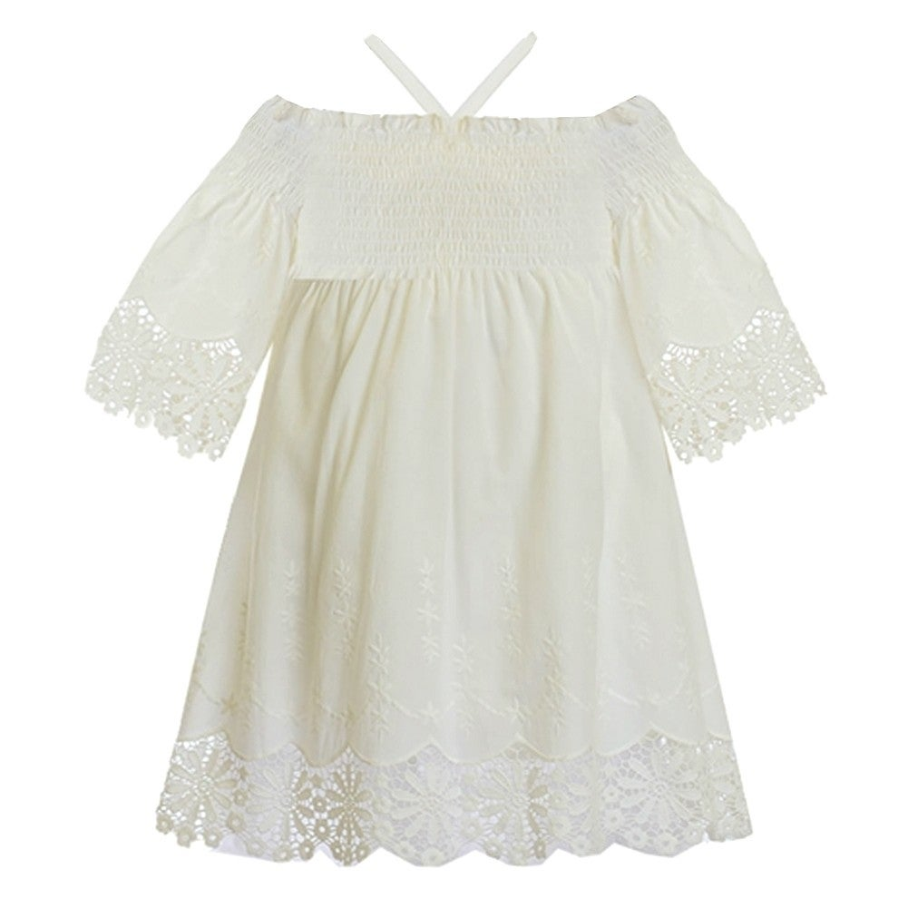 Biscotti Little Girlss White Off-Shoulder Smocked Top Embroidered ...