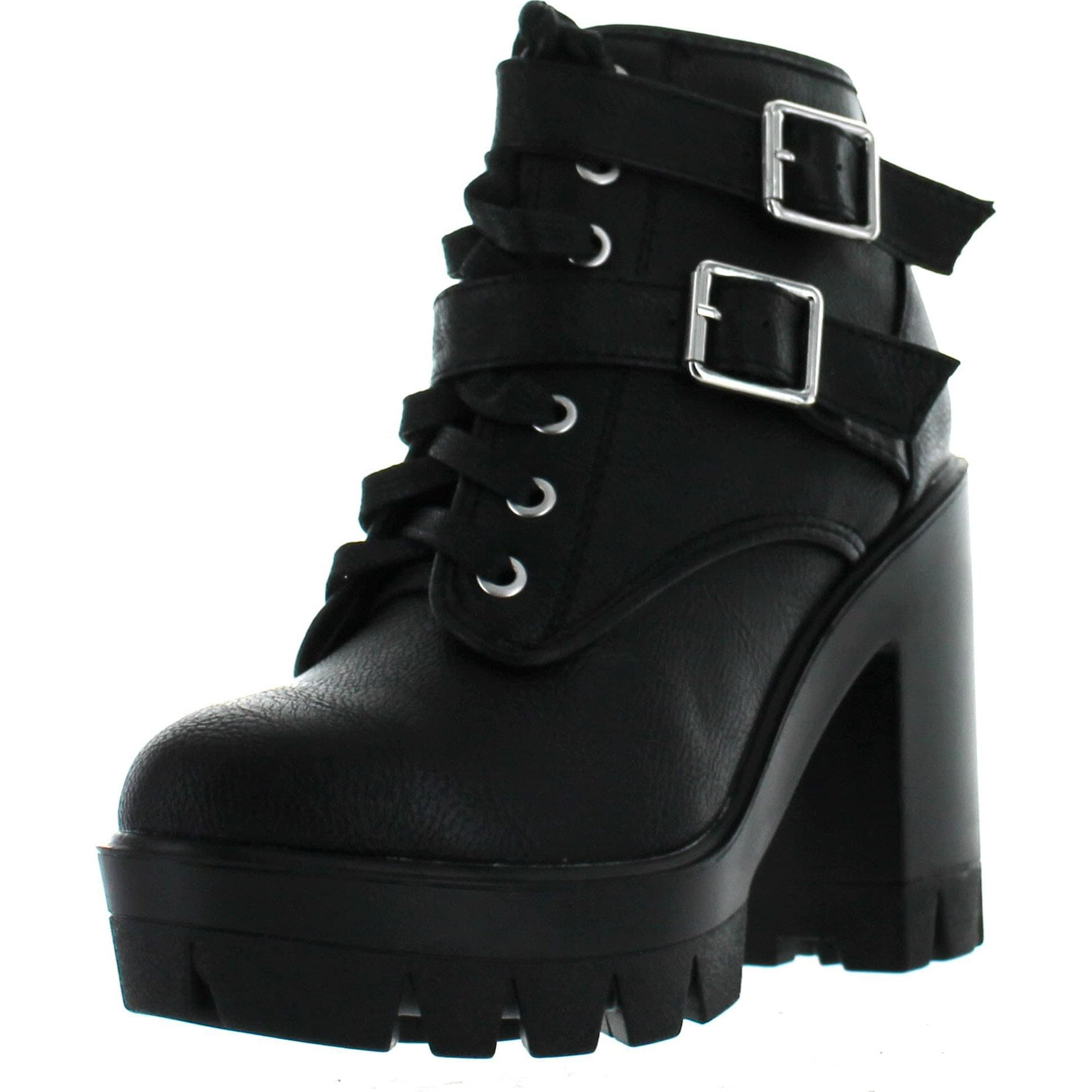 2191fdd8d8 Bamboo Womens Jonas-07 Double Buckle Lace Up Chunky Heel Industrial Bootie