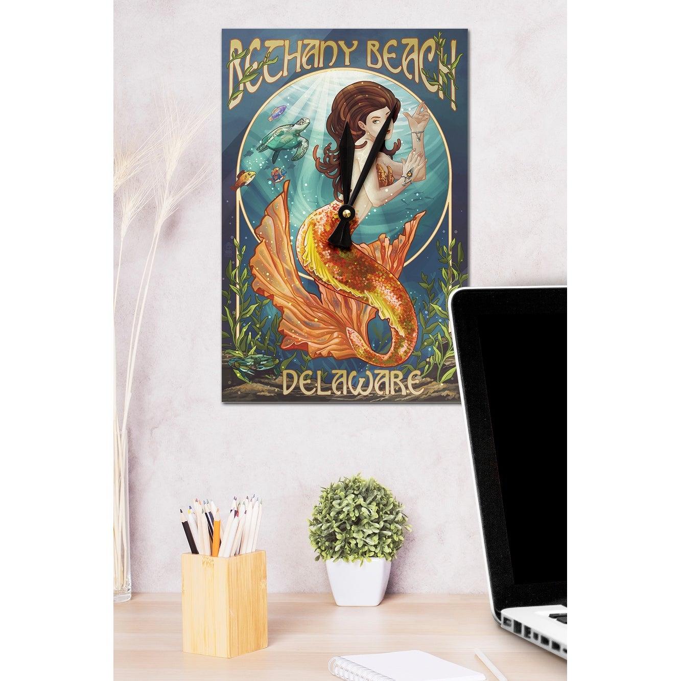 Bethany Beach, Delaware   Mermaid   Lantern Press Artwork (Acrylic Wall  Clock)   Acrylic Wall Clock